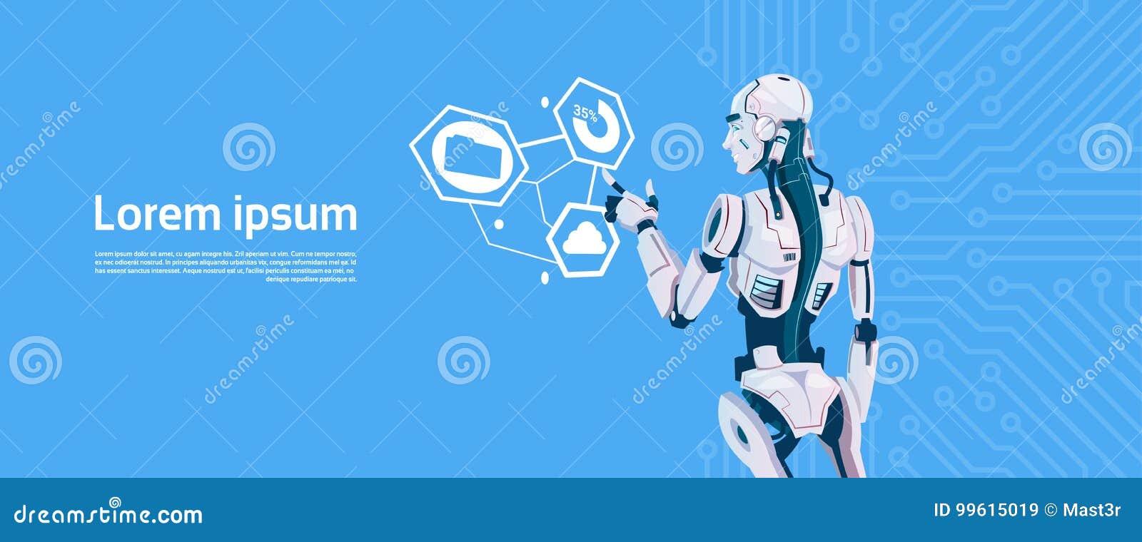 Moderner Roboter unter Verwendung Monitors des Digital-Bildschirm-, futuristische künstliche Intelligenz-Mechanismus-Technologie