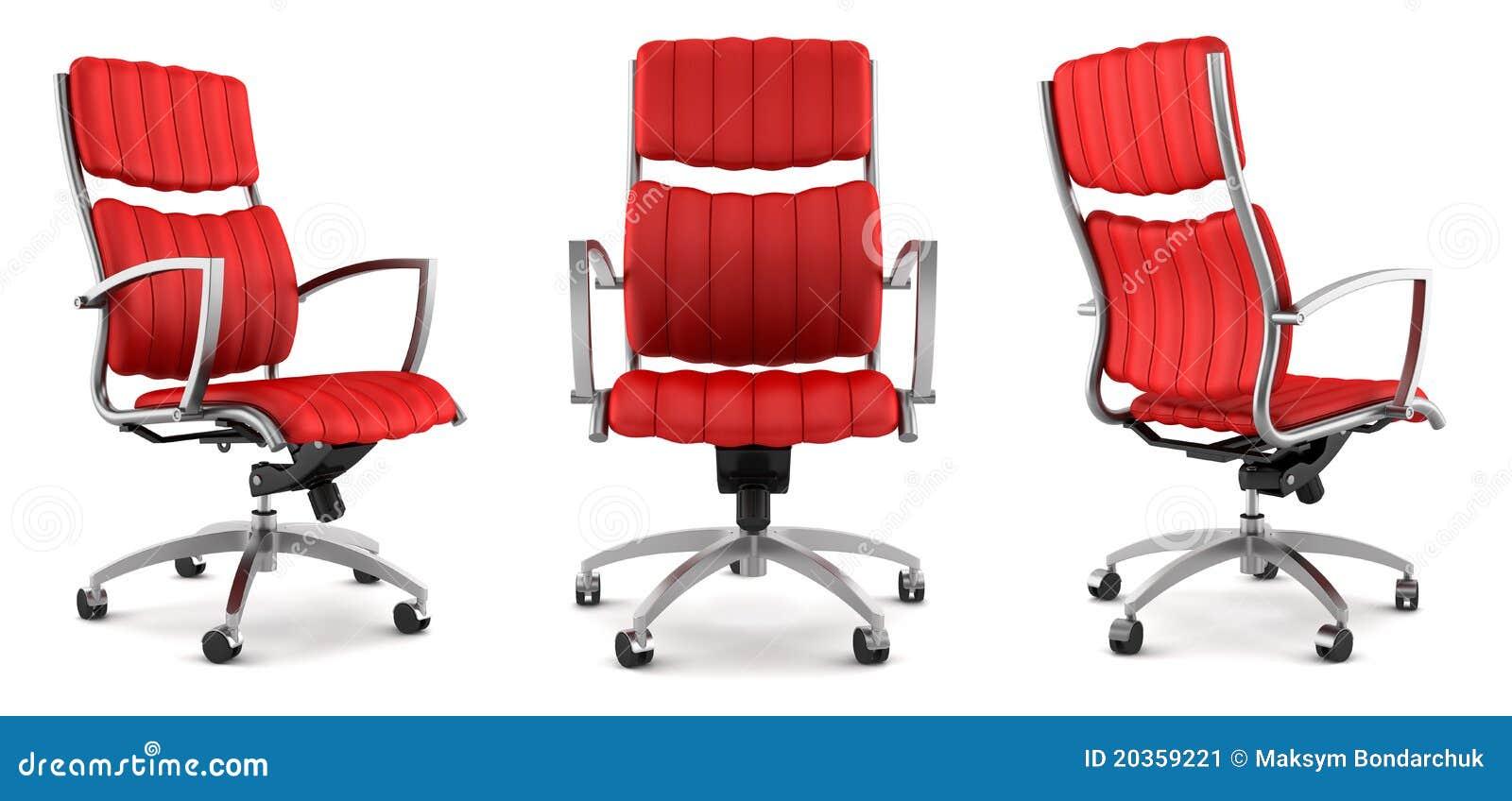 Moderner roter Bürostuhl getrennt auf Weiß