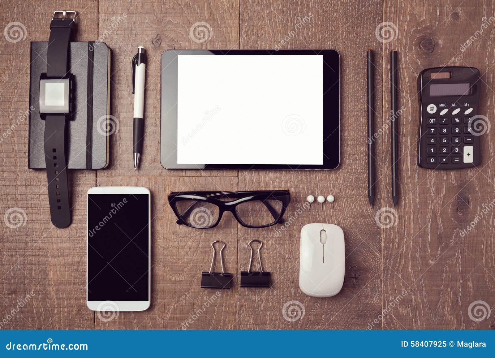 moderner schreibtisch mit ger ten ansicht von oben stockfoto bild 58407925. Black Bedroom Furniture Sets. Home Design Ideas