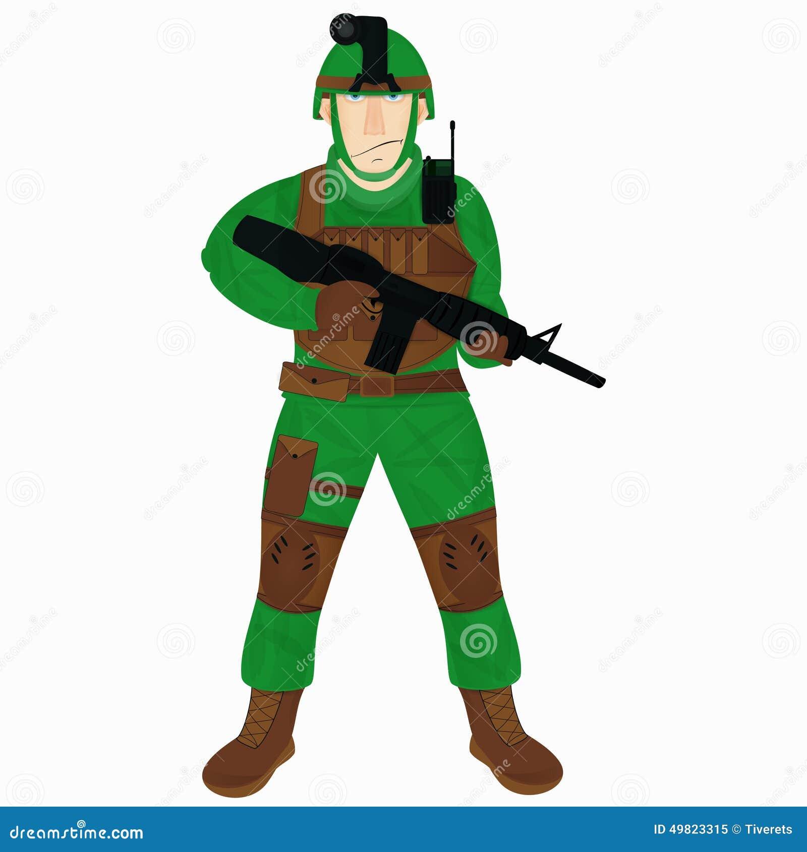 Moderner Soldat der Karikatur