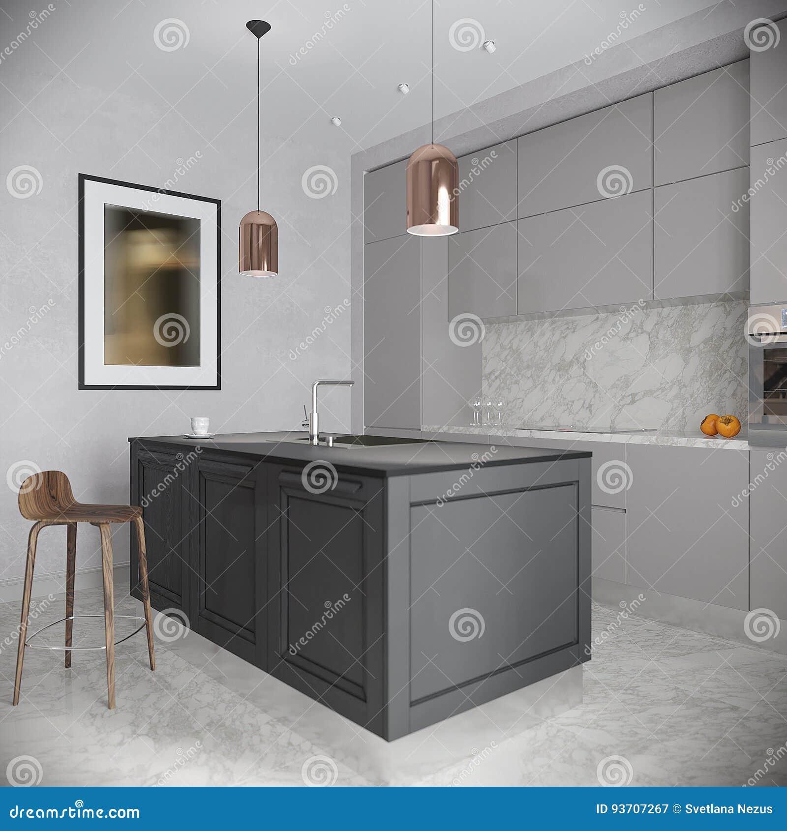 Moderner Städtischer Zeitgenössischer Gray Kitchen Interior Stock ...