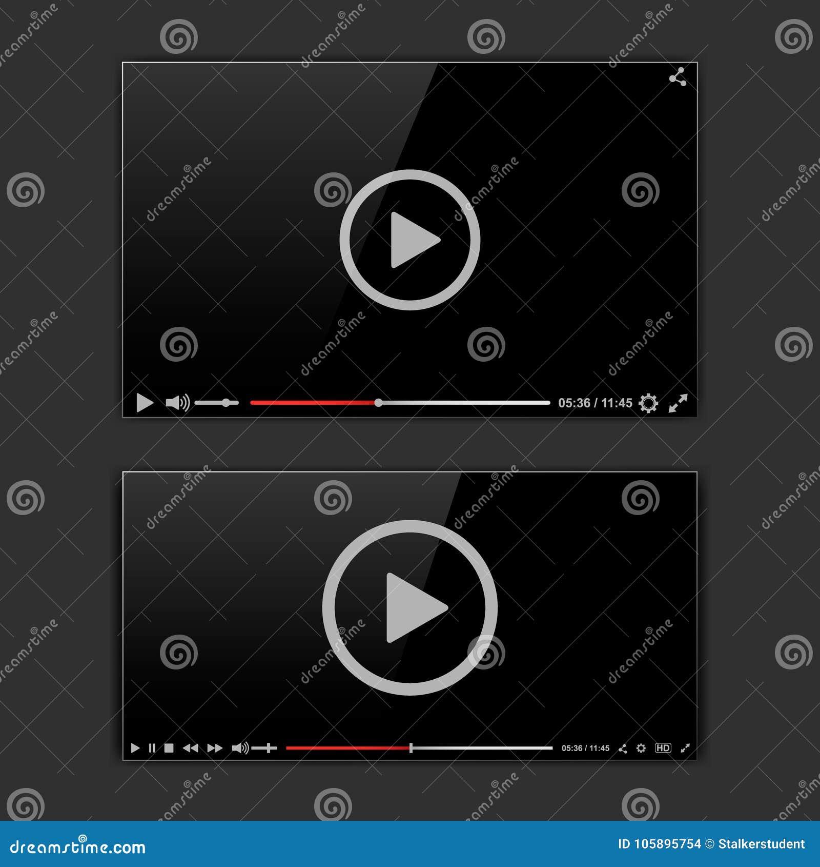 Moderner Videorahmen Video-Player-Schnittstelle mokup oder UI für Netz Auch im corel abgehobenen Betrag