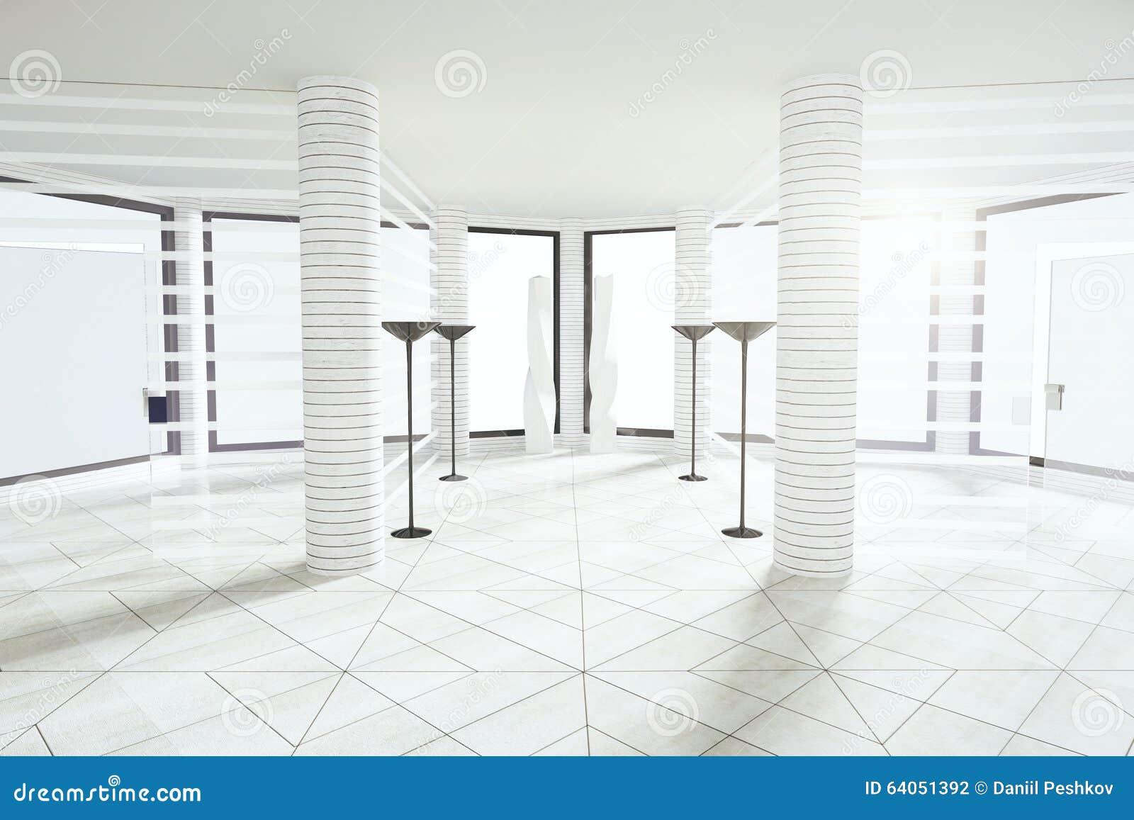 moderner wei er leerer raum mit s ulen und gro en fenstern stock abbildung illustration von. Black Bedroom Furniture Sets. Home Design Ideas