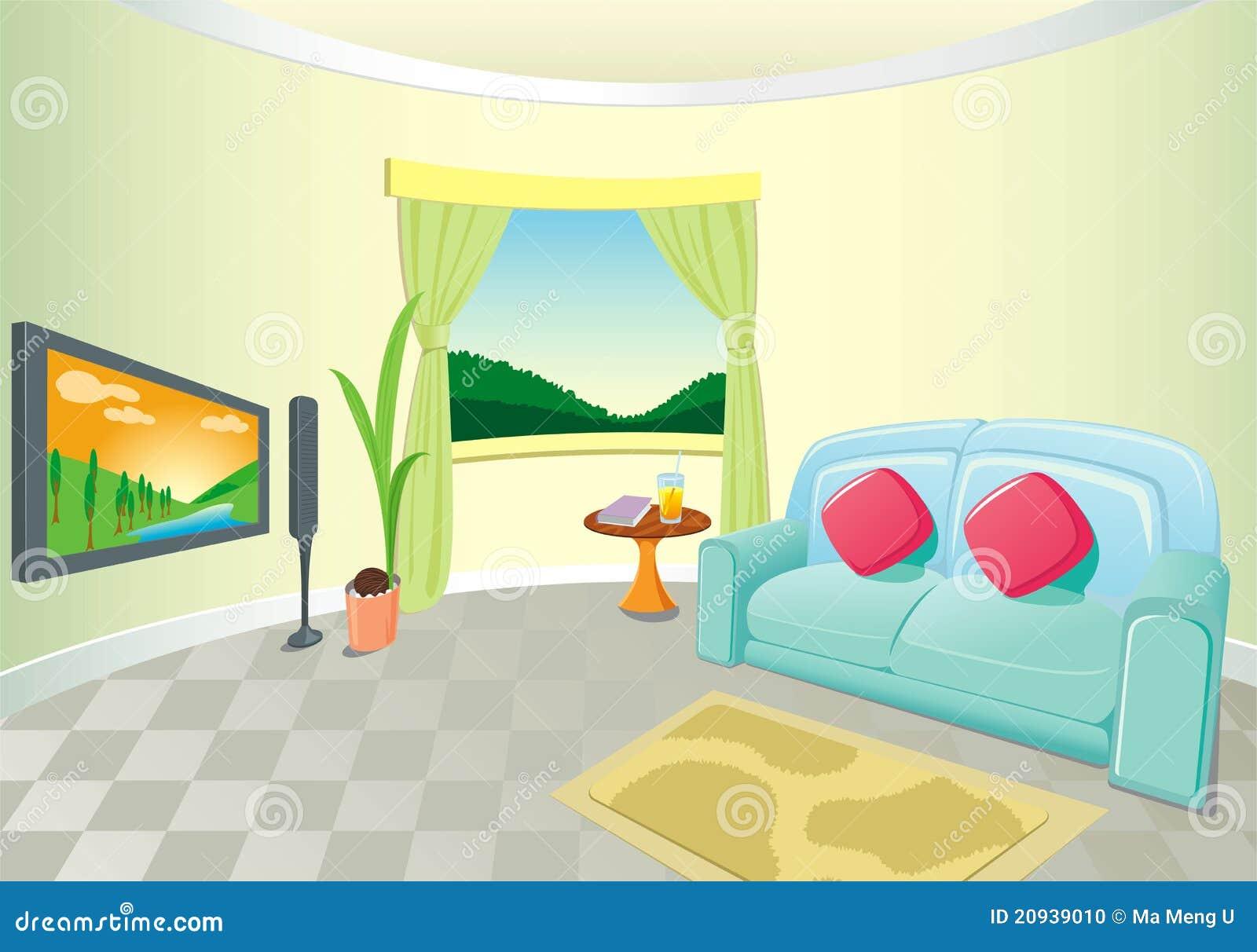 Moderner Wohnzimmer-Innenraum Vektor Abbildung - Illustration von ...
