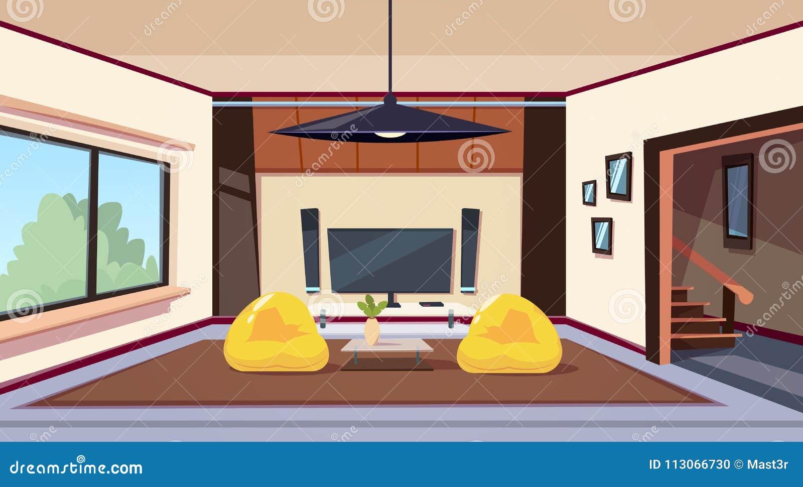 Moderner Wohnzimmer-Innenraum mit Bean Bag Chairs And And großes geführtes Televison auf Wand-Heimkino einstellen