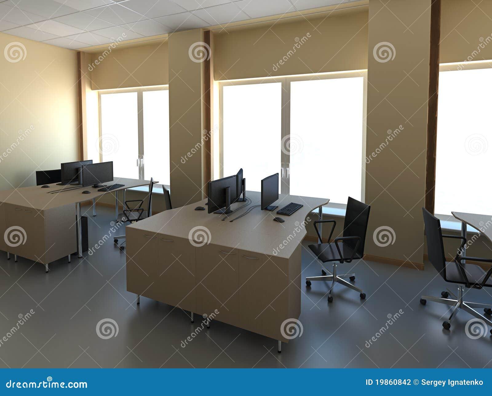 Modernes Buro Mit Den Computern Innen Stock Abbildung Illustration