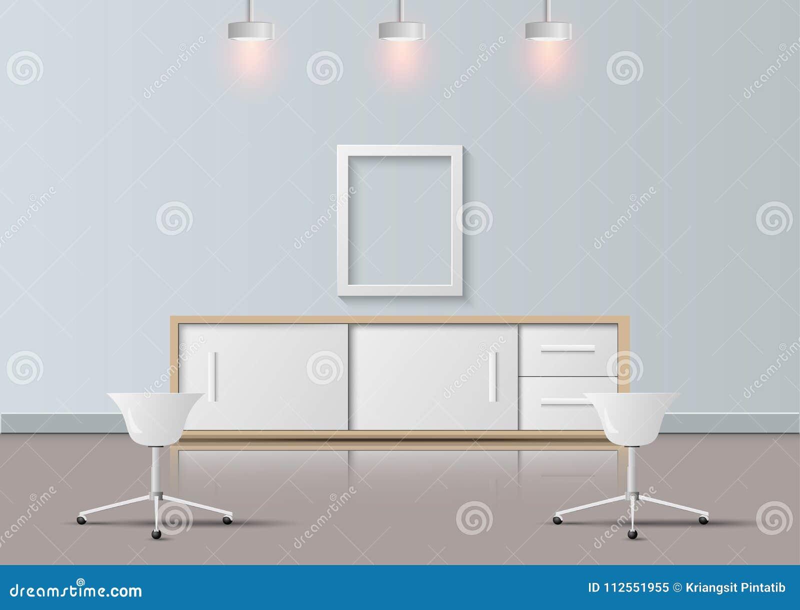 Modernes Büro realistisch und Ruheraumdesign, Vektorillustration