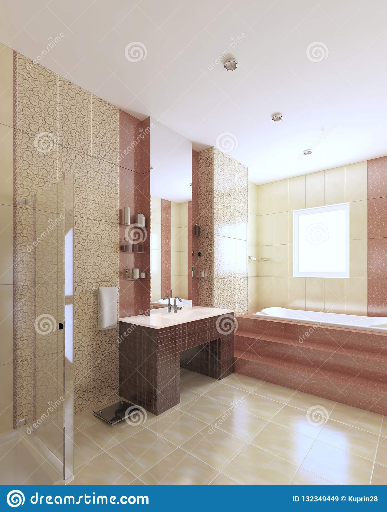 Modernes Badezimmer Im Gelb Und In Burgunder-Farbe Mit ...