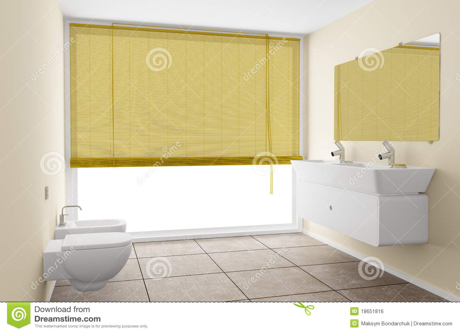 Modernes Badezimmer Mit Beige Wänden Stock Abbildung ...