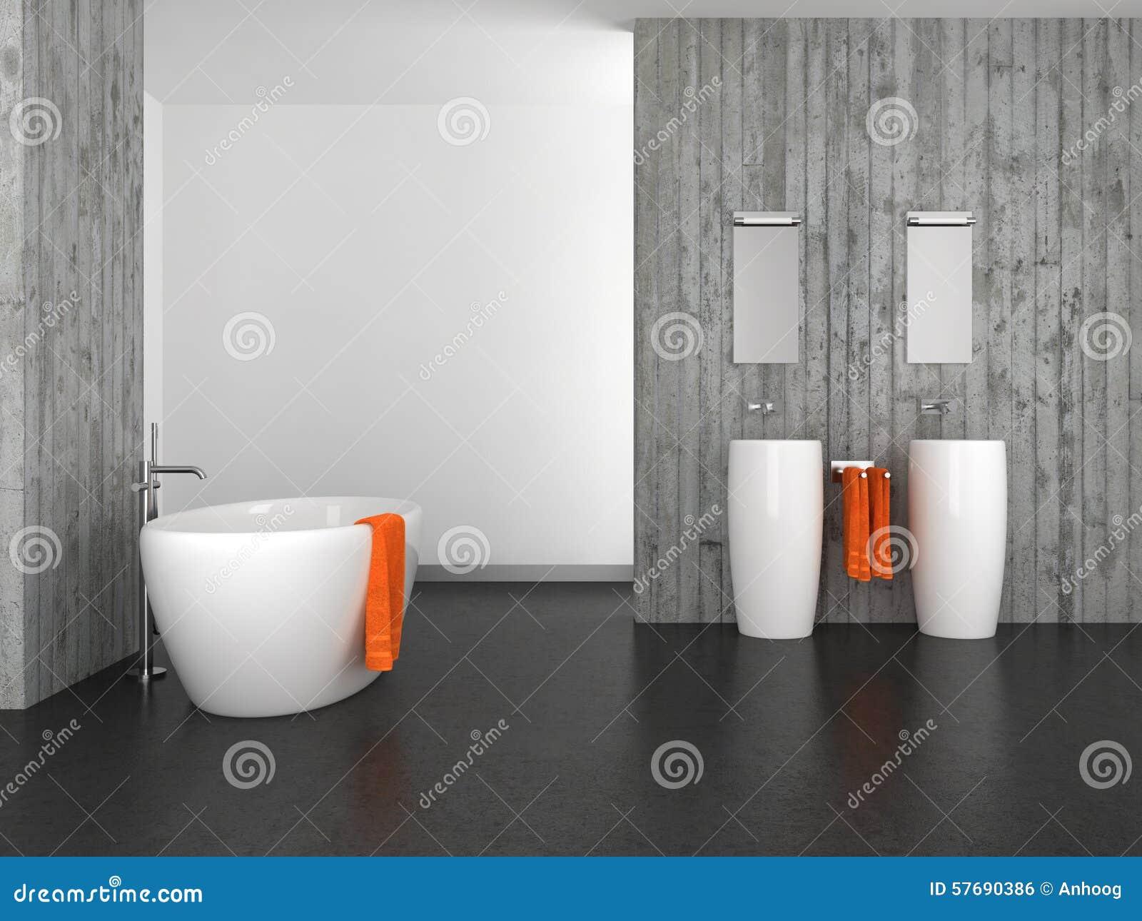 Modernes Badezimmer Mit Betonmauer Und Dunklem Boden Stock Abbildung ...