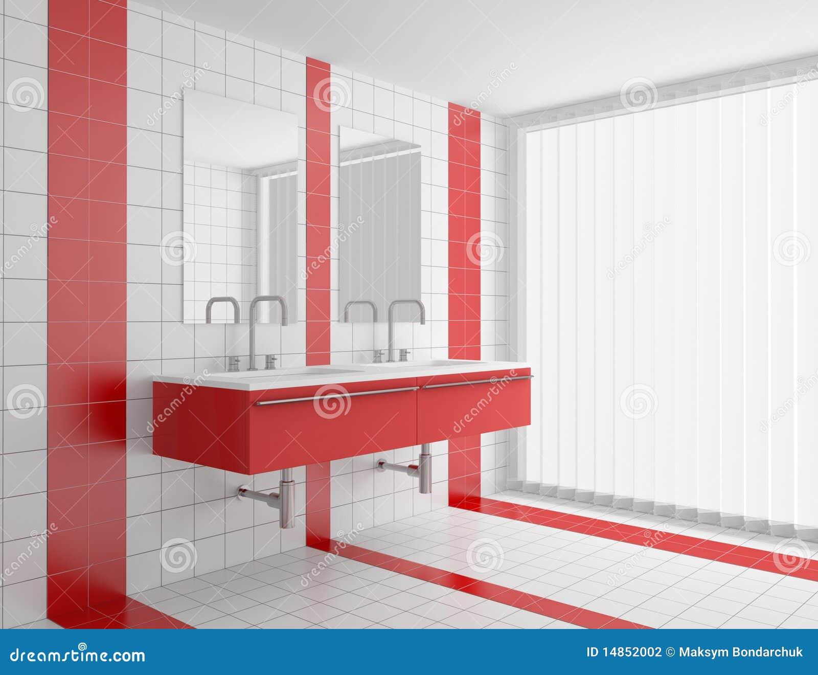 Modernes Badezimmer Mit Den Roten Und Weißen Fliesen Stock ...