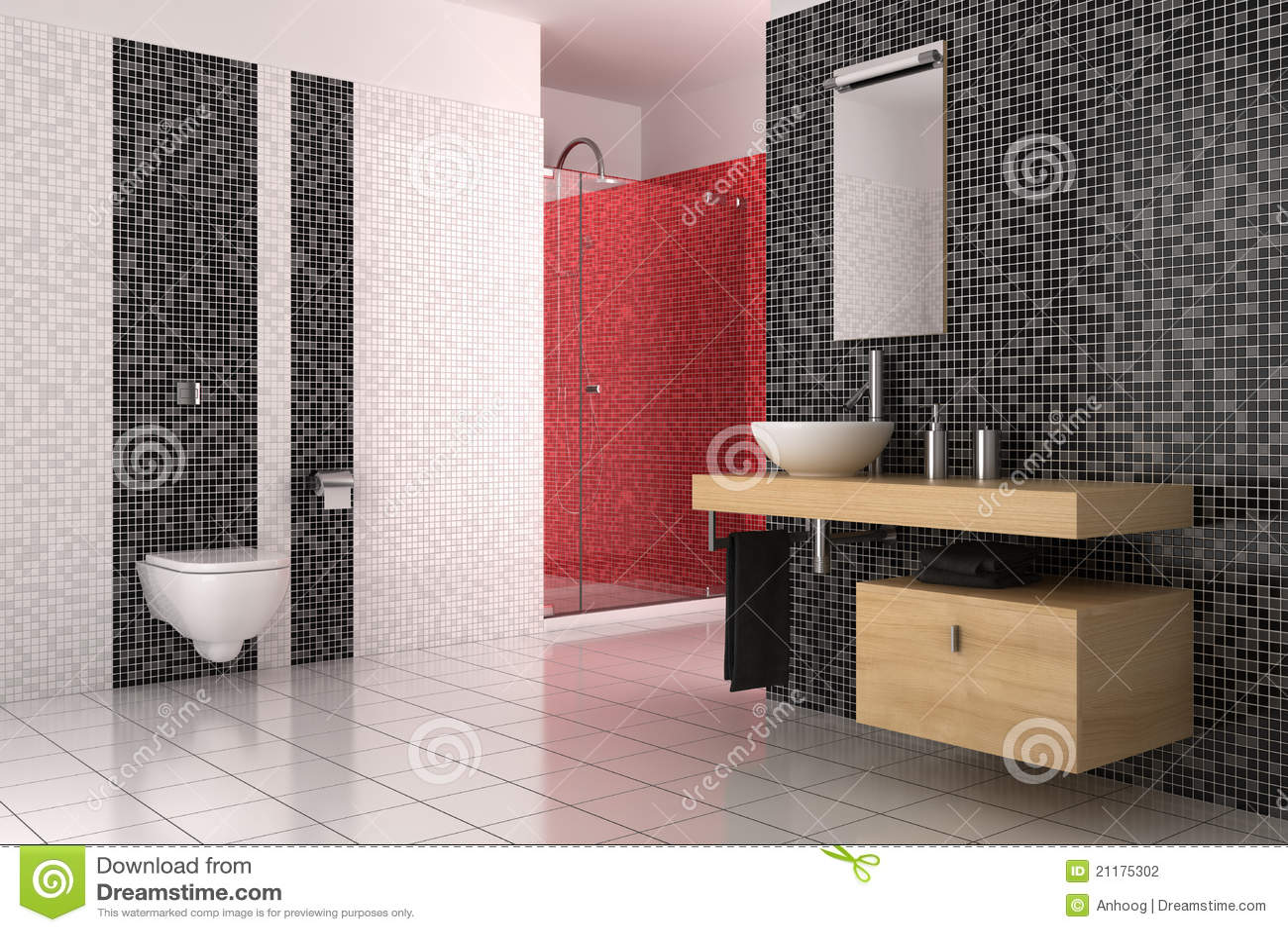 Modernes Badezimmer Mit Den Schwarzen, Roten Und Weißen ...