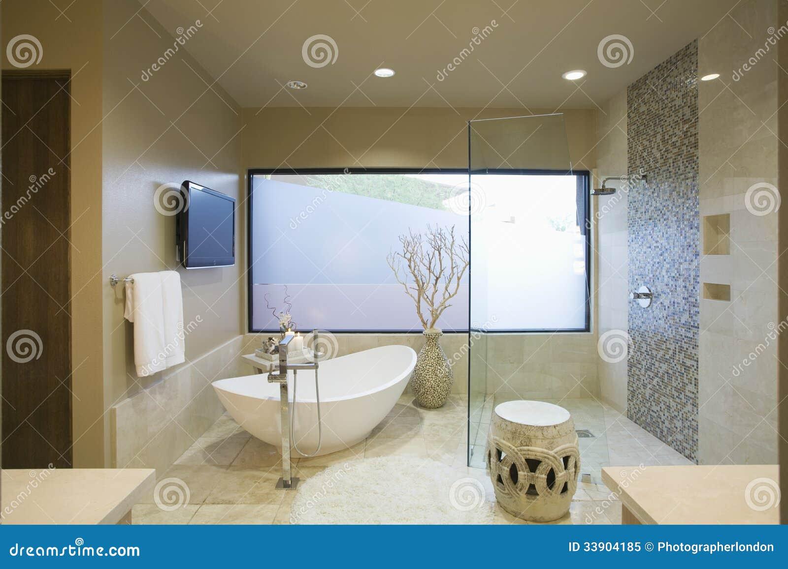 Modernes Badezimmer Mit Freistehendem Bad Stockbild - Bild von ...