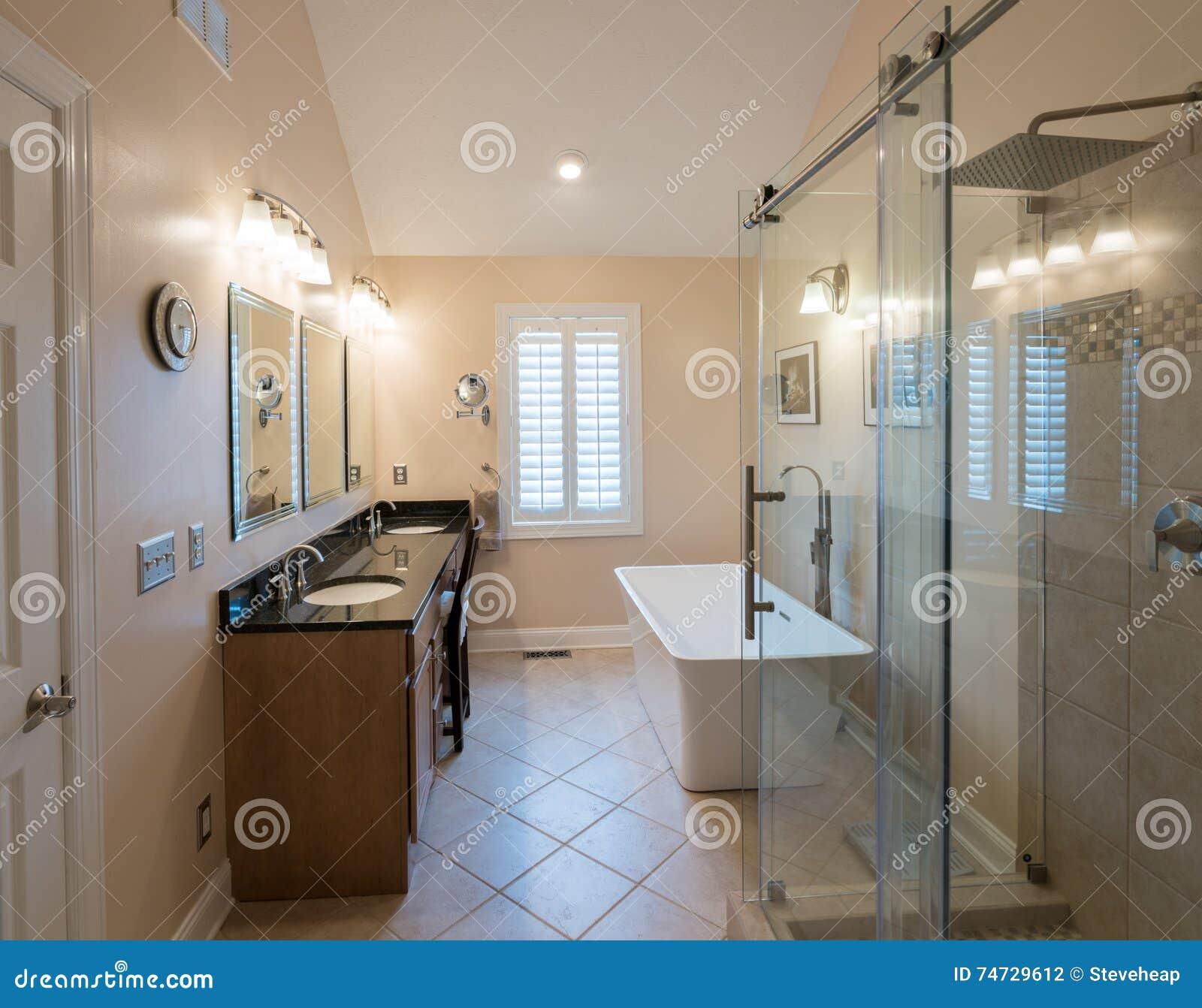 Modernes Badezimmer Mit Freistehender Wanne Und Eitelkeit