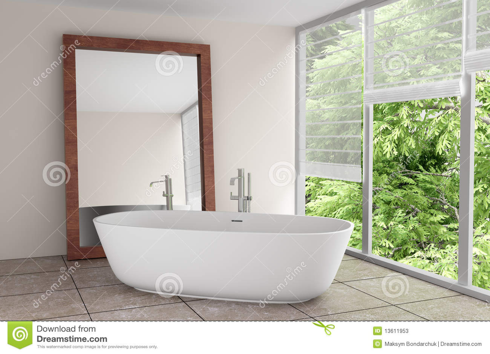 Download Modernes Badezimmer Mit Großem Spiegel Stockbild   Bild Von Farbe,  Holz: 13611953