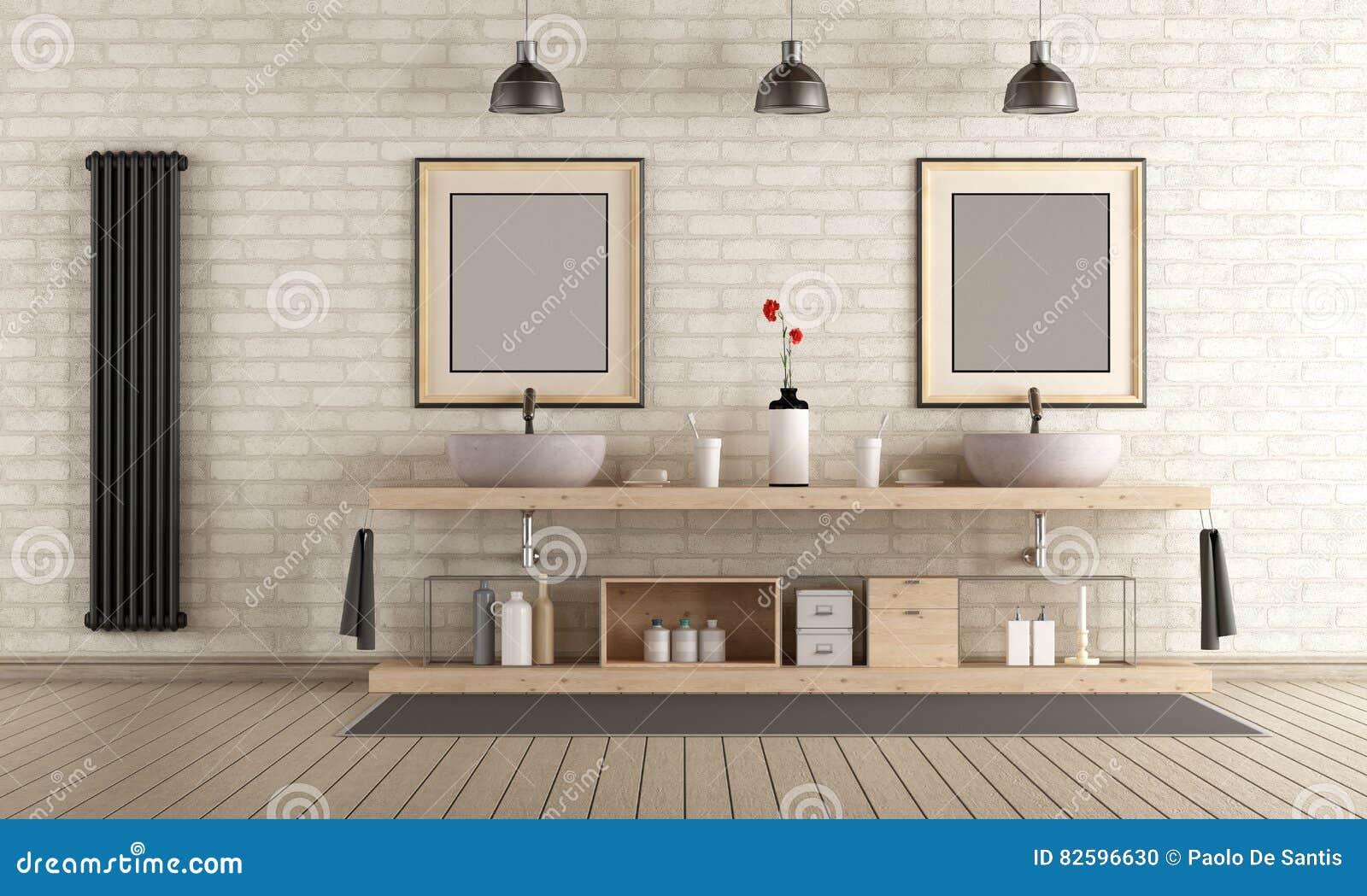 Modernes Badezimmer Mit Holzmöbel Stock Abbildung - Illustration von ...