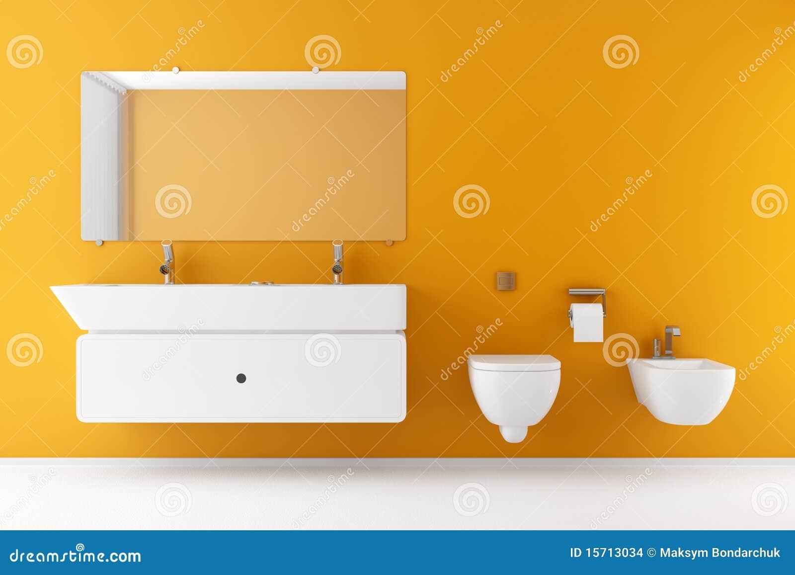 Modernes Badezimmer Mit Orange Wand