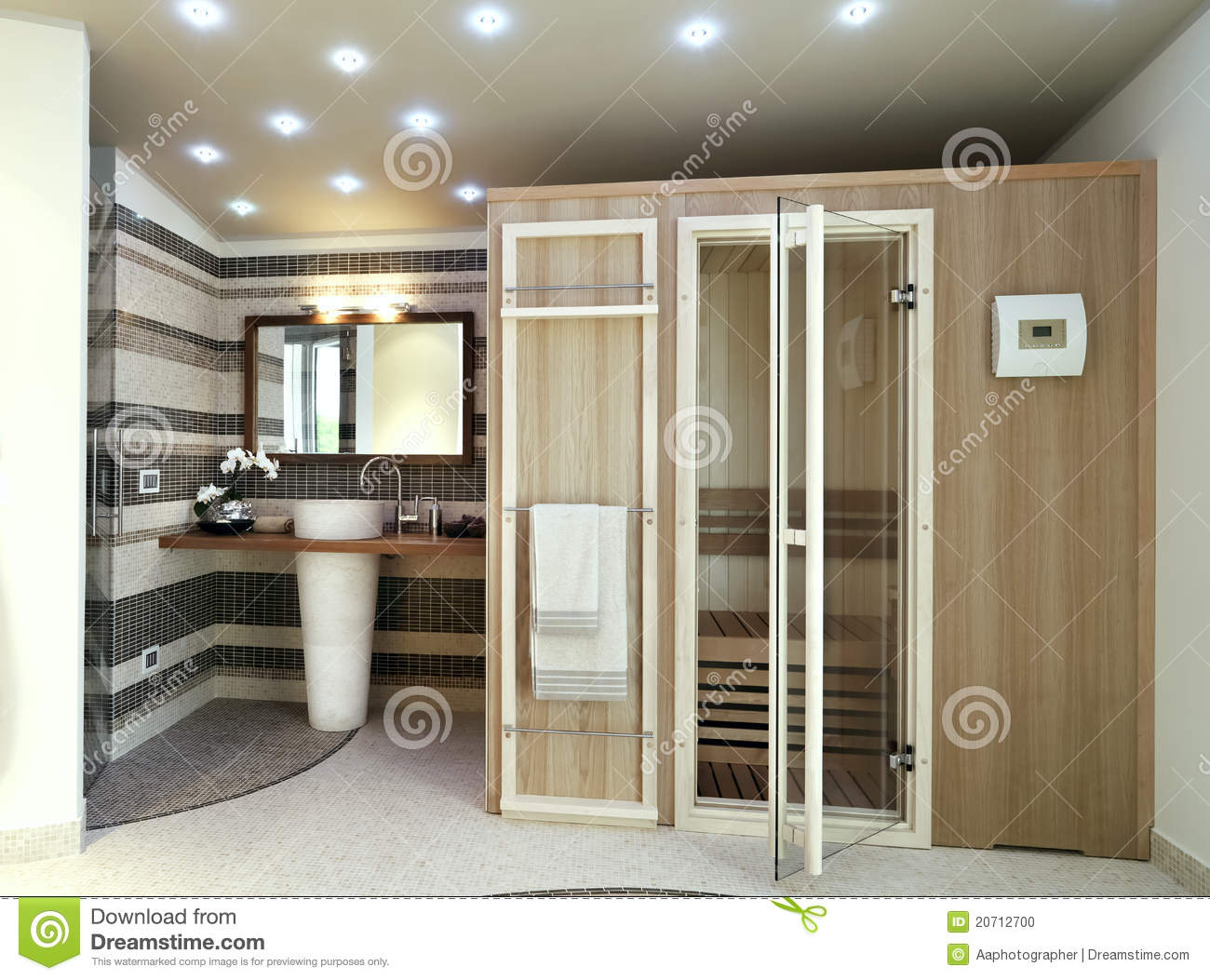 modernes badezimmer mit sauna stockfoto bild von cozy badezimmer 20712700. Black Bedroom Furniture Sets. Home Design Ideas