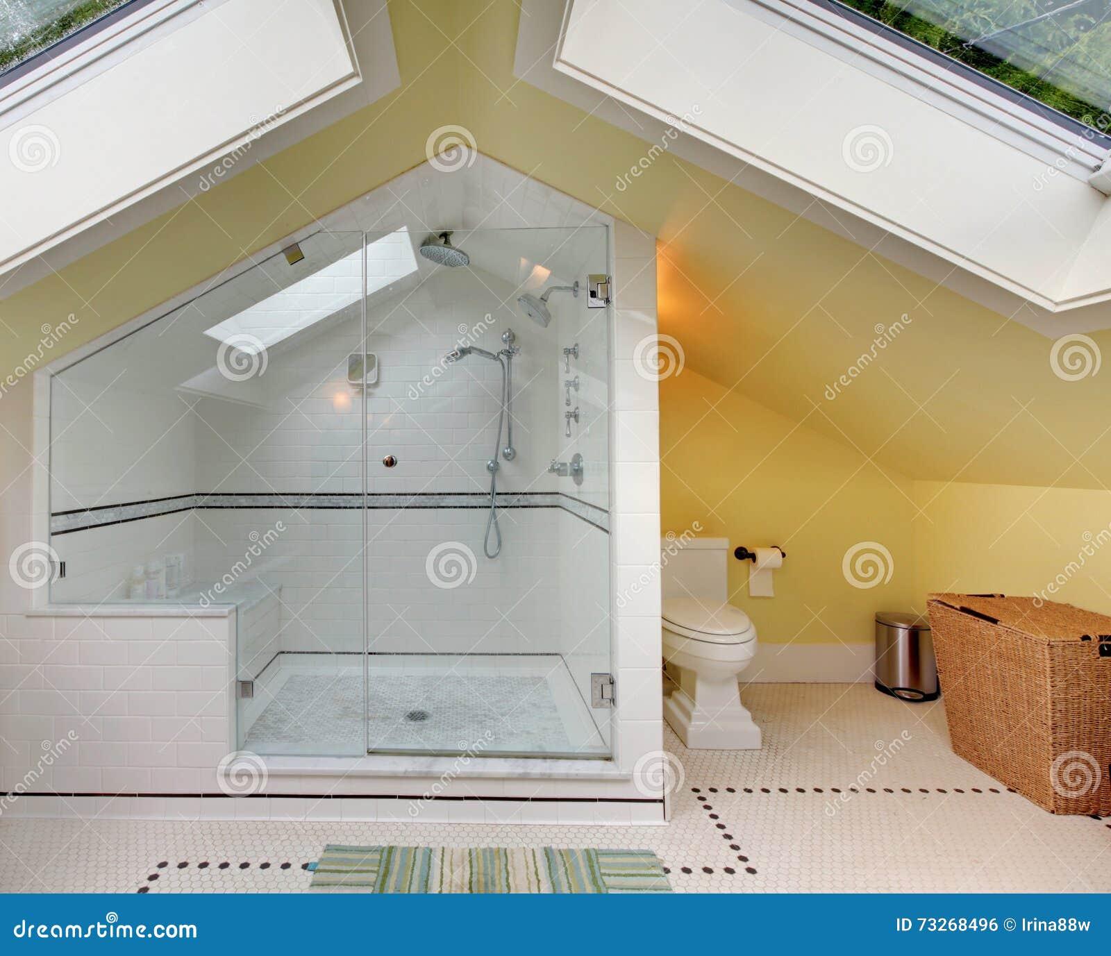 Modernes Badezimmer Oben Mit Großer Dusche Und Gewölbter Decke