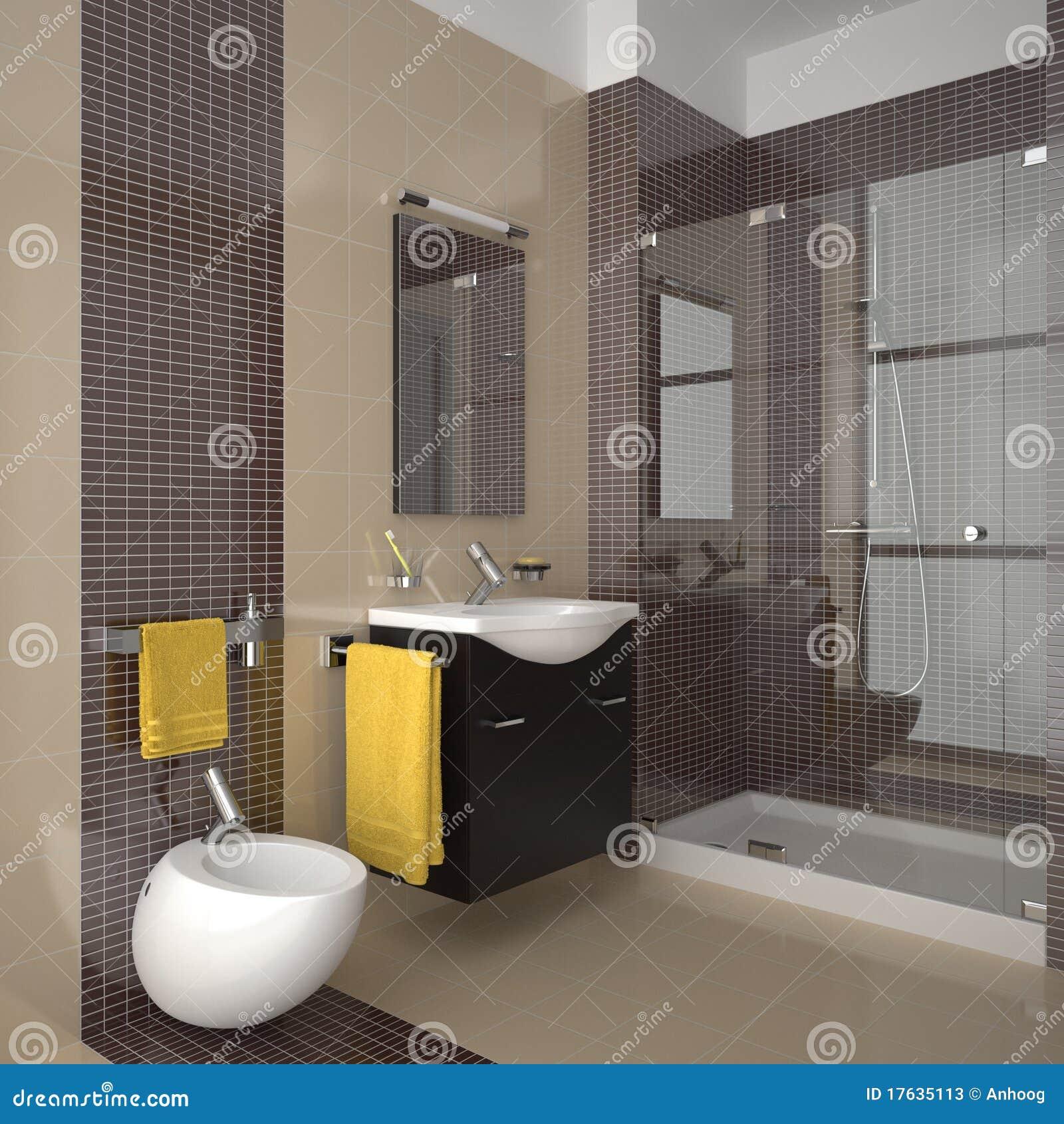 Modernes Beige Badezimmer Mit Hölzernen Möbeln
