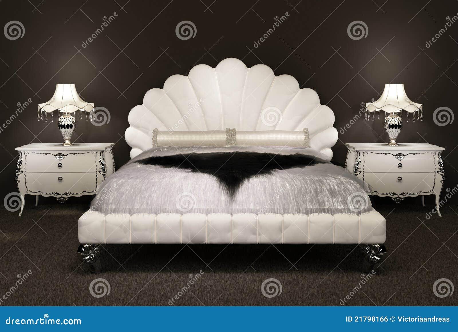 modernes bett mit pelzbettdecke lizenzfreies stockbild bild 21798166. Black Bedroom Furniture Sets. Home Design Ideas