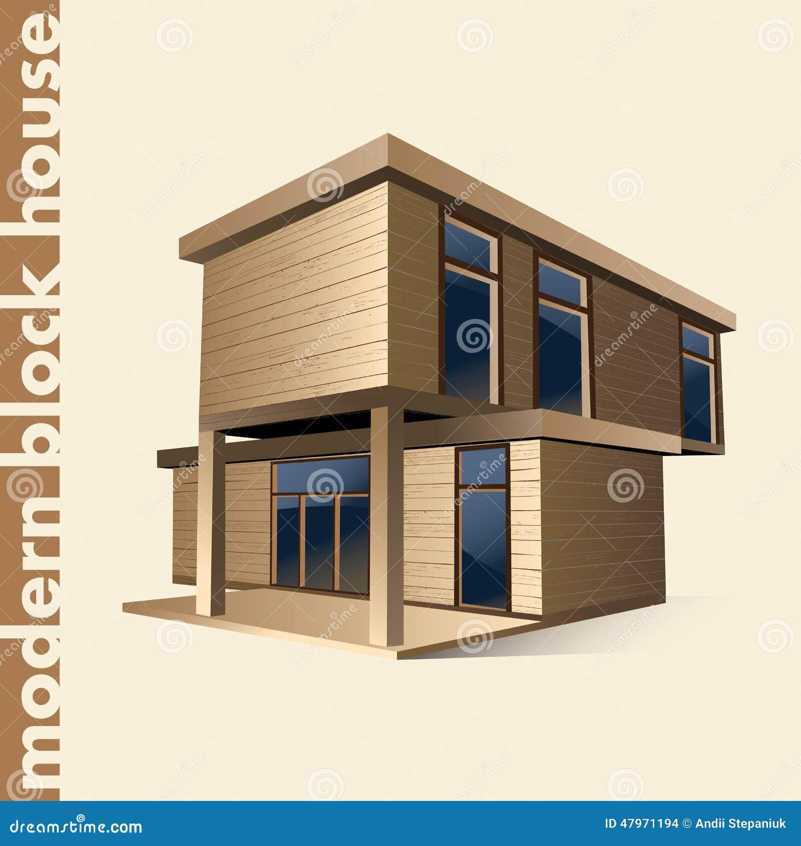 Modernes blockhaus in der farbe
