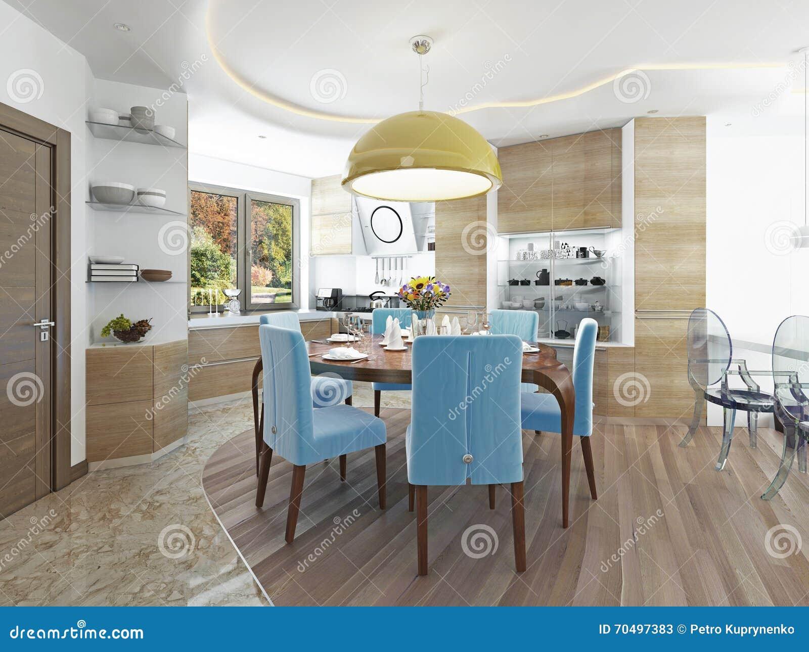 Download Modernes Esszimmer Mit Küche In Einem Modischen Artkitsch Stock  Abbildung   Illustration Von Blau,