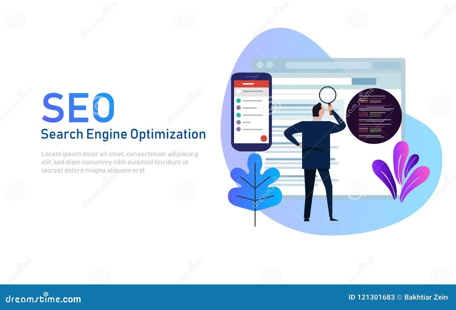 Modernes flaches Konzept des Entwurfes von SEO Search Engine Optimization für Website und bewegliche Website Dieses ist Datei des