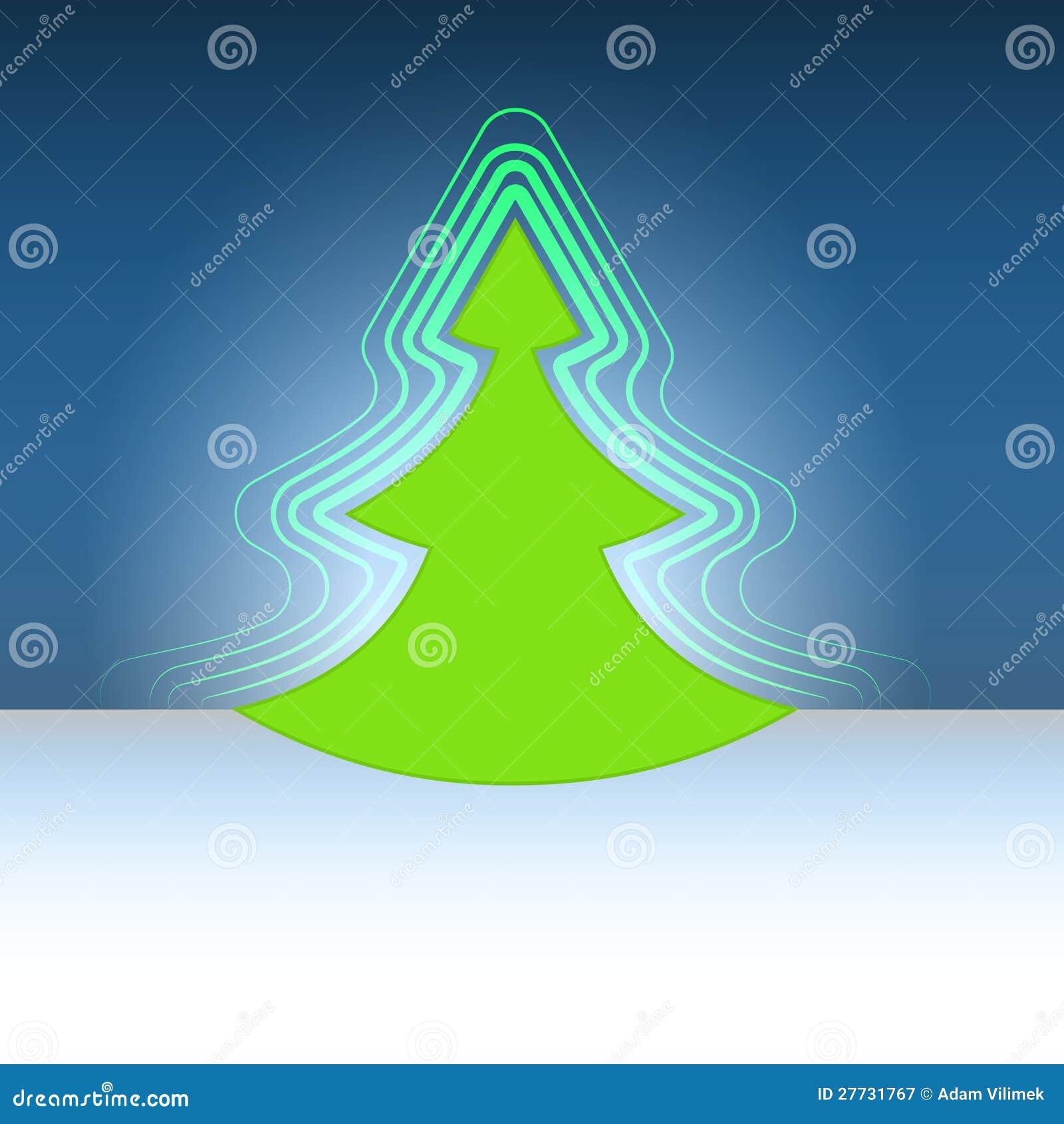 Modernes Formweihnachtsgrün-Baumaufflackern