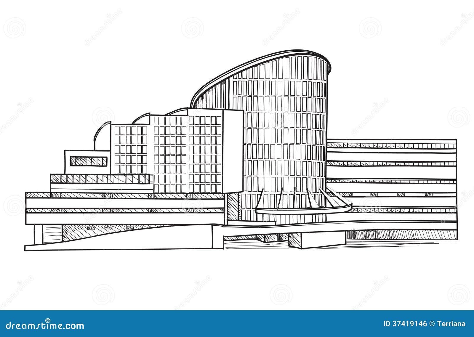 Architekturskizze Stadtbildsammlung Vektor Abbildung