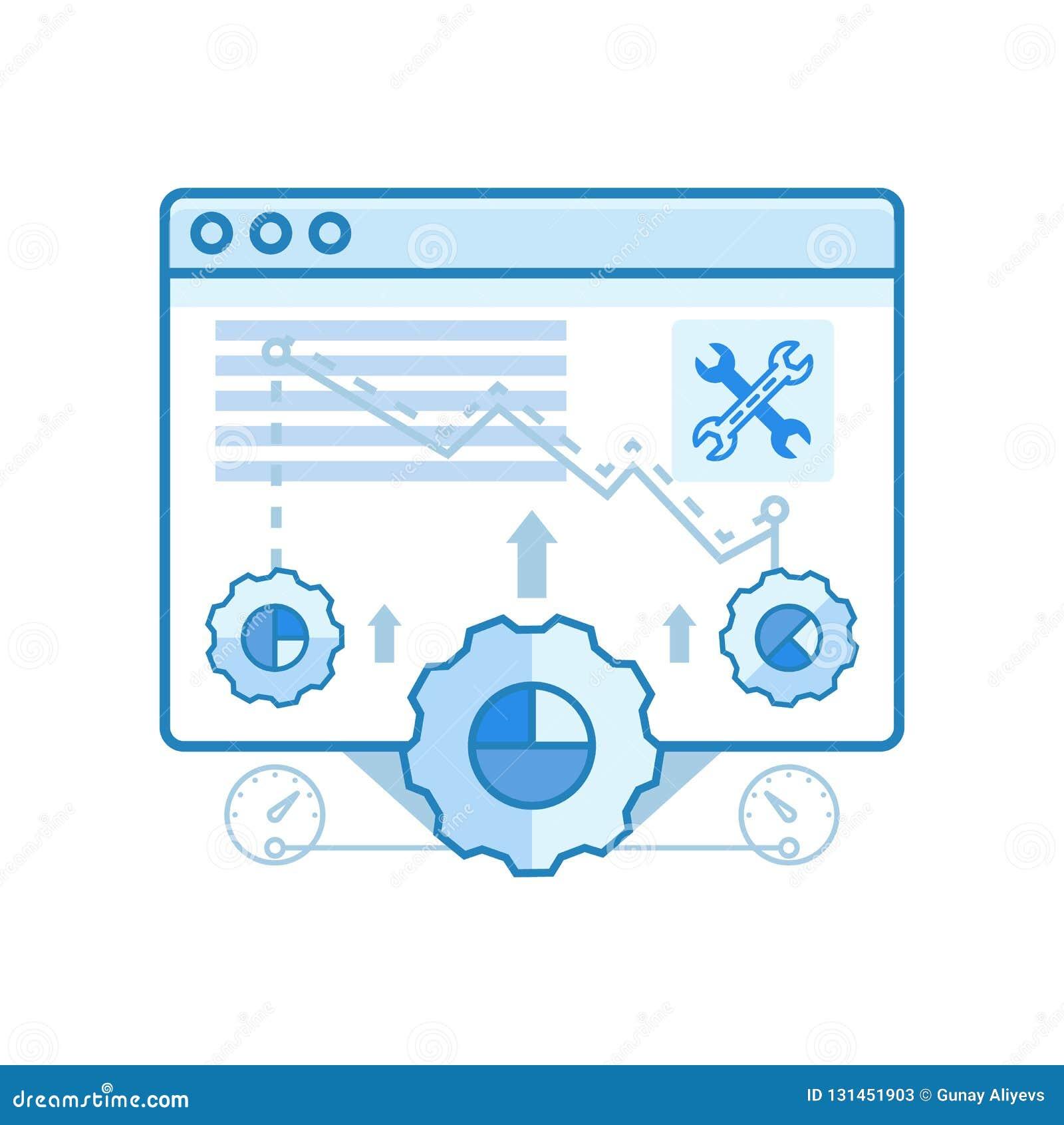 Modernes glattes web browser, Optimierung, Einstellungen entwerfen Ikonen für Netz und Grafikdesign, Ui-Entwurf, Entwicklung, usw