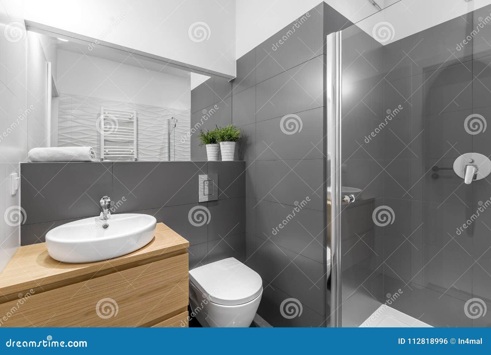 Graues Badezimmer | Modernes Graues Badezimmer Mit Dusche Stockfoto Bild Von Phantasie