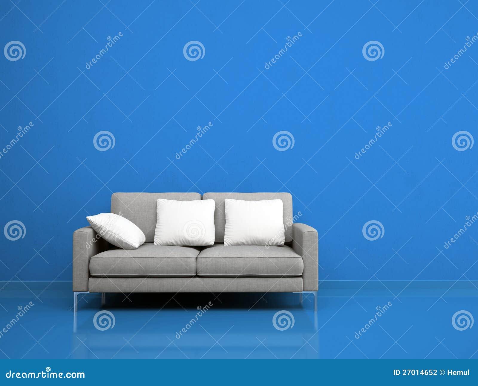 Download Modernes Graues Sofa Auf Der Blauen Wand Stock Abbildung    Illustration Von Möbel, Rest