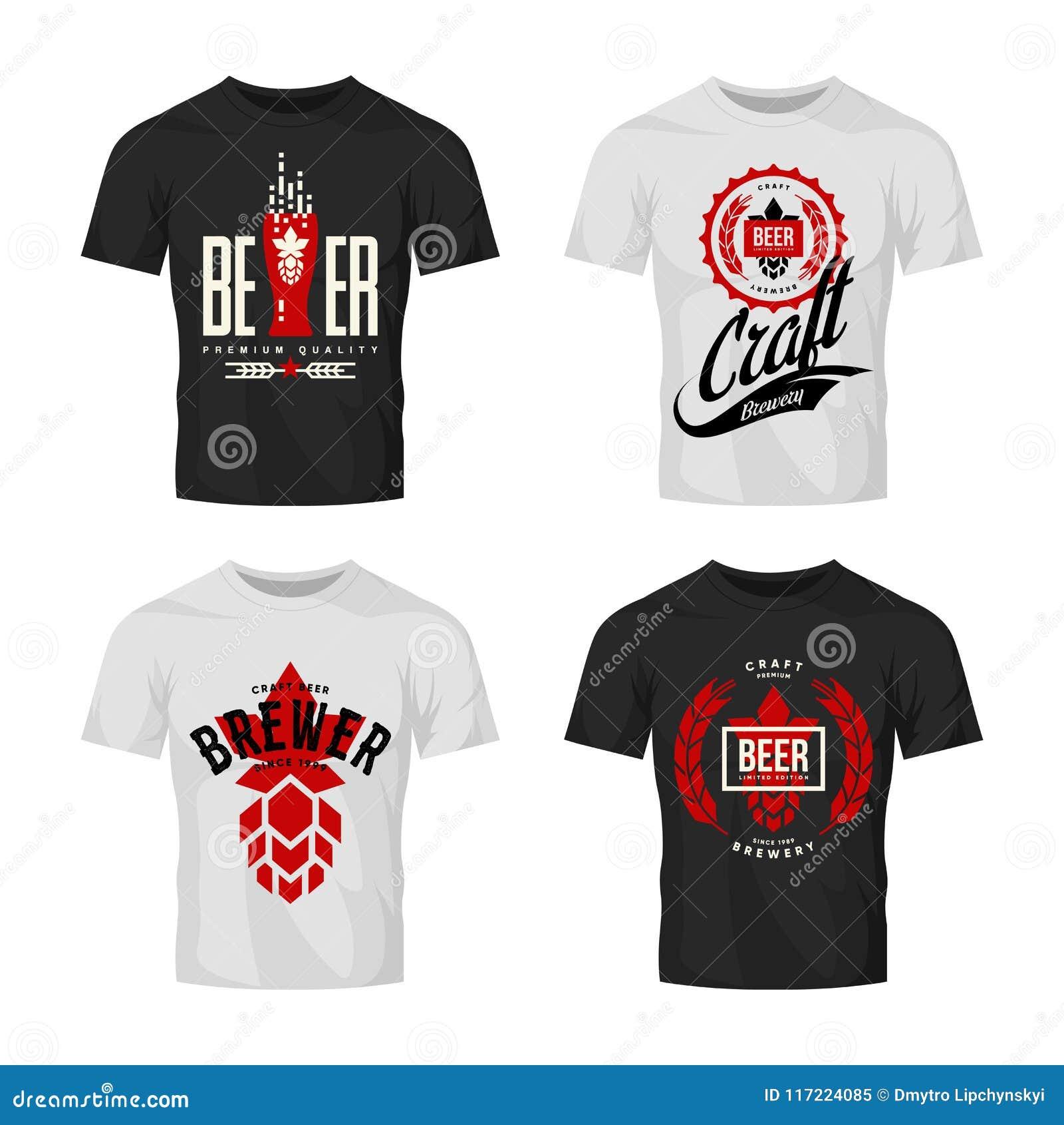 Modernes Handwerksbiergetränkvektor-Logozeichen für die Bar, Kneipe, Brauerei oder Brauerei oben lokalisiert auf T-Shirt Spott