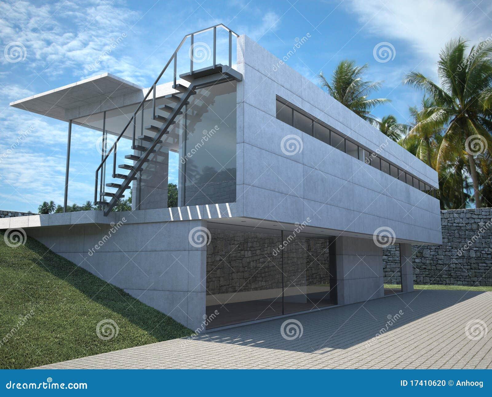 Modernes Haus - Äußeres Mit Palmen Stock Abbildung - Illustration ...