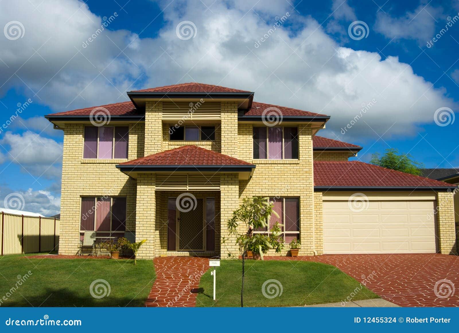Modernes Haus Stockfoto Bild Von Zaun Gras Farbe Haupt 12455324