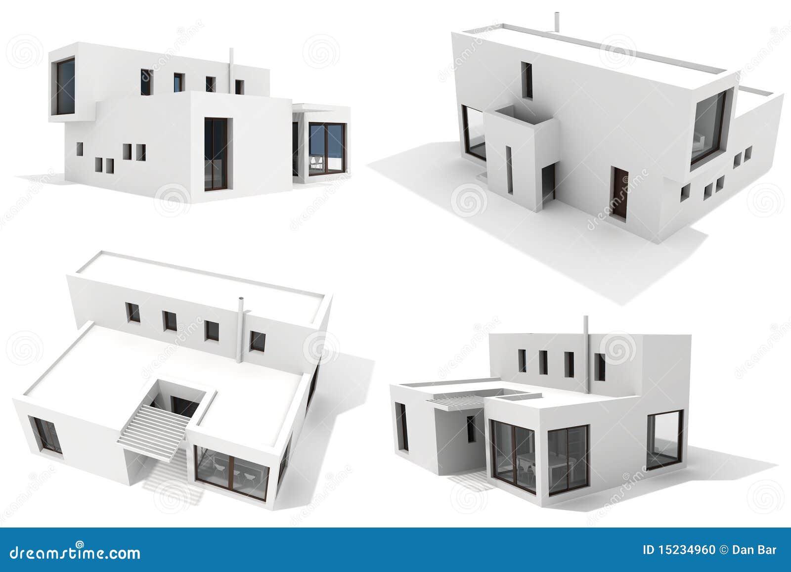 Modernes Haus 3d, Getrennt Auf Weißem Hintergrund Stock Abbildung ...