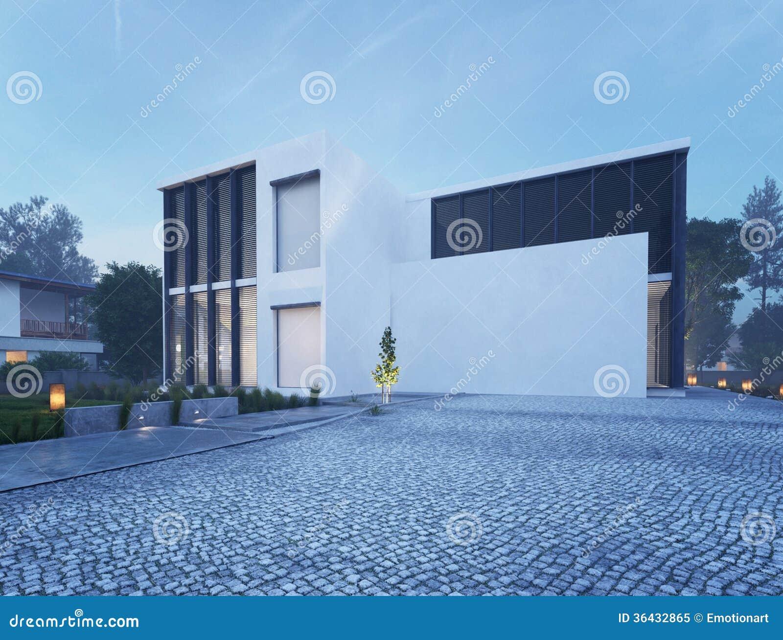 Modernes Haus Außen Mit In Der Dämmerung Beleuchten Im Freien Stock ...