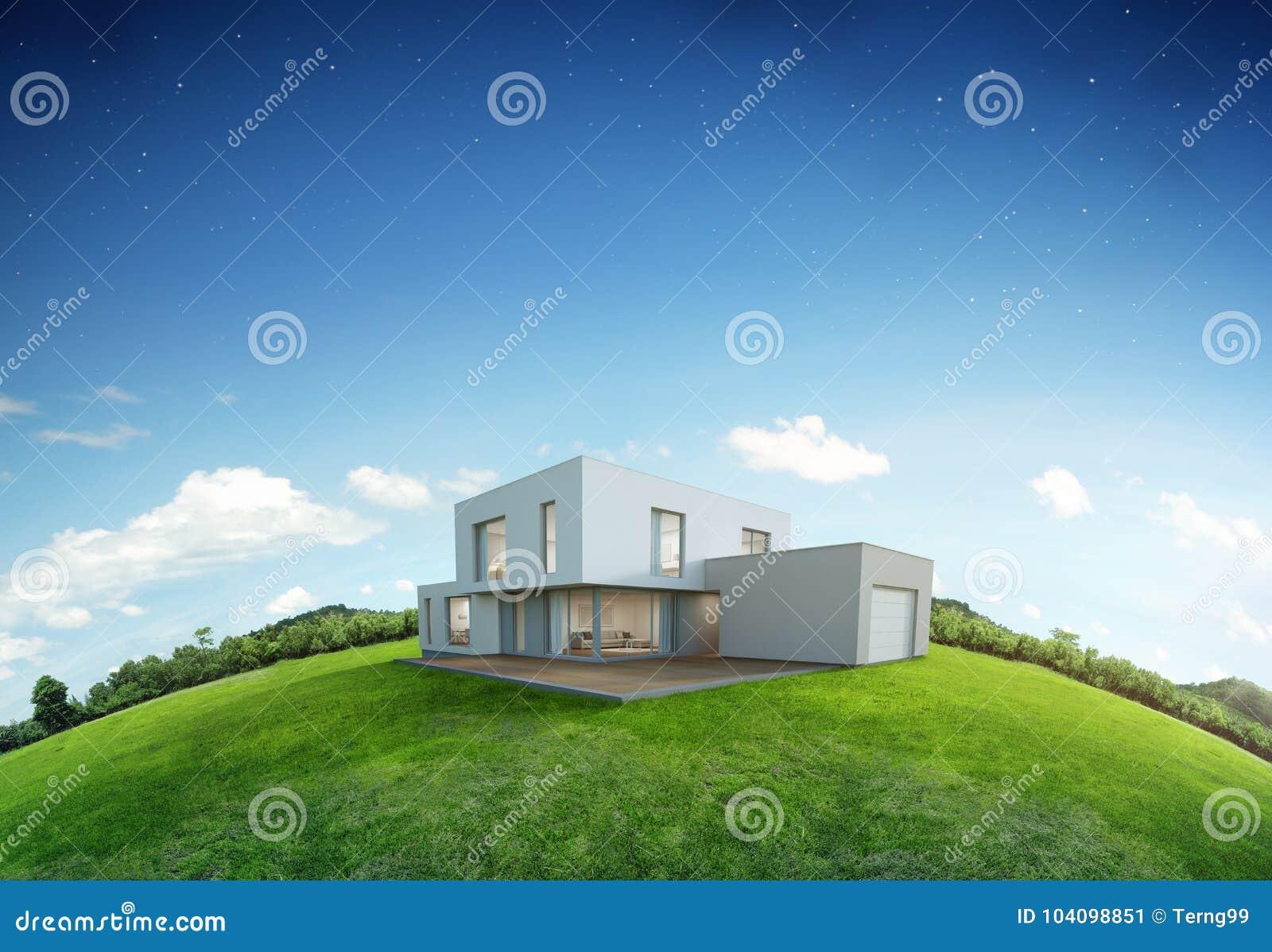 Modernes Haus Auf Erde Und Grünem Gras Mit Hintergrund Des Blauen ...