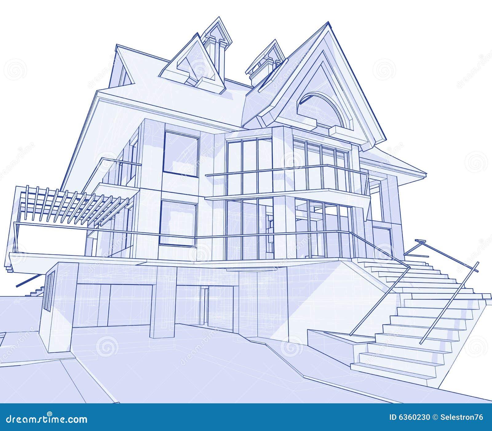 Modernes Haus Lichtpause Vektor Abbildung Illustration