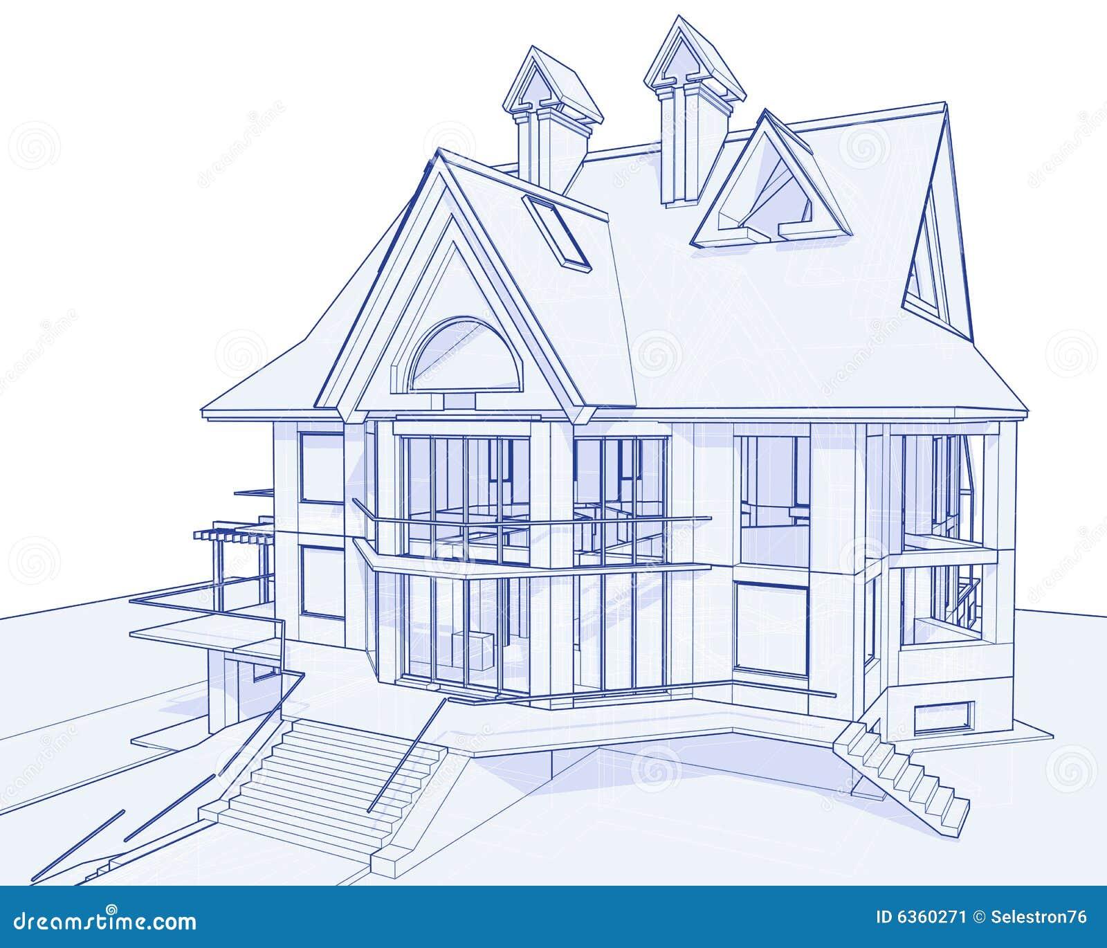 Modernes haus lichtpause vektor abbildung illustration for Modernes haus 3d