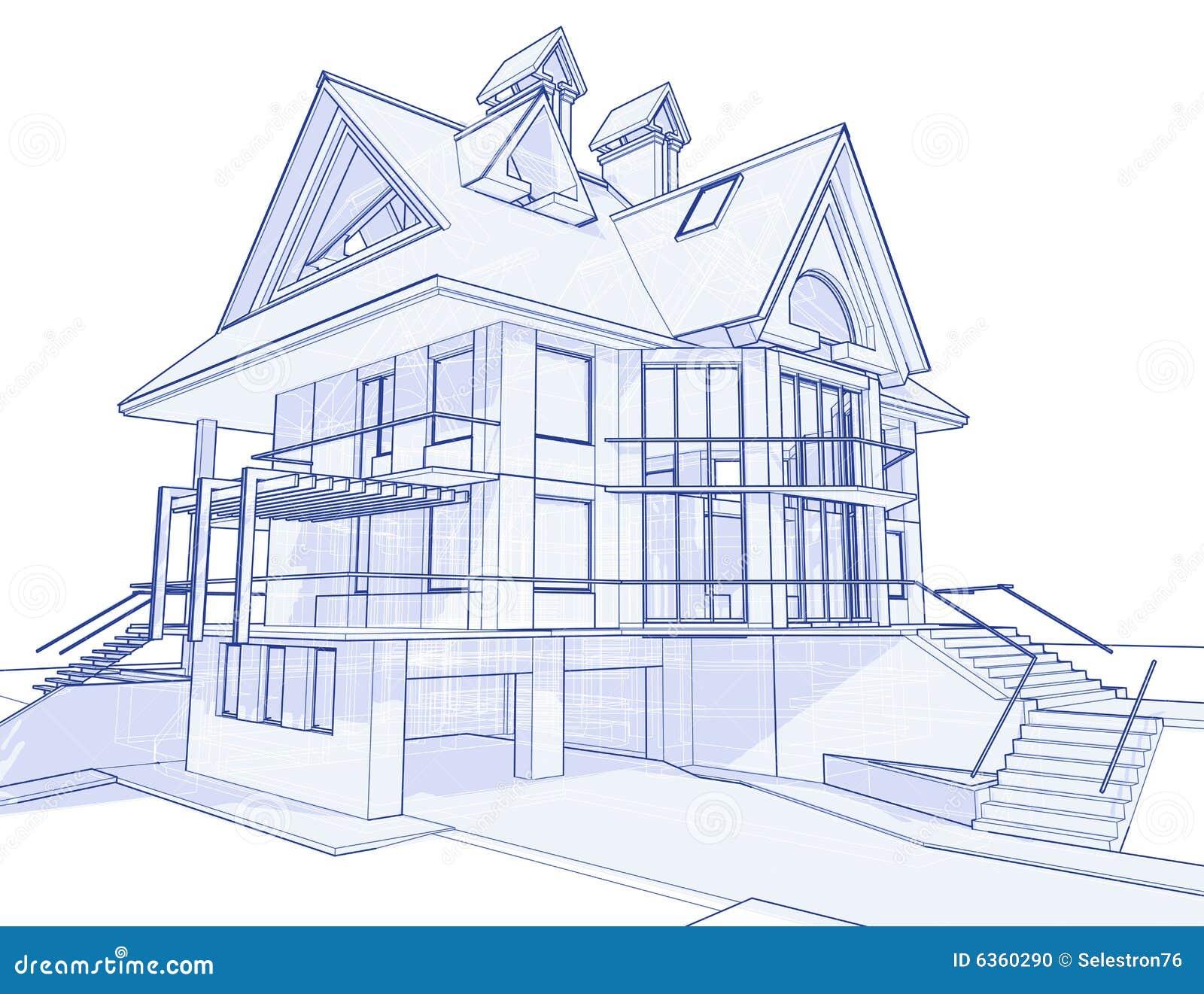 Modernes haus lichtpause vektor abbildung illustration for Modernes haus zeichnen