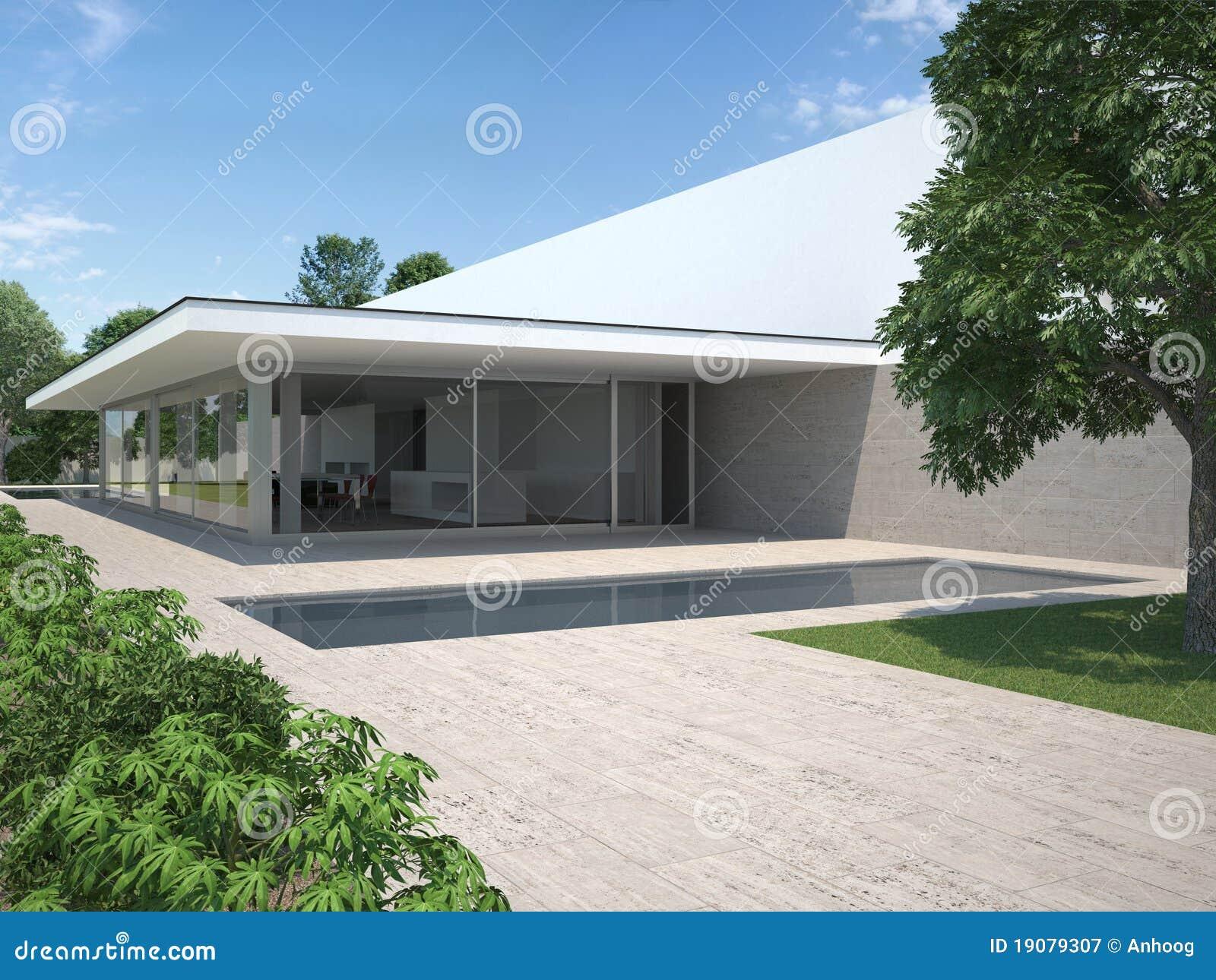Modernes Haus Mit Garten Und Pool Lizenzfreie ...