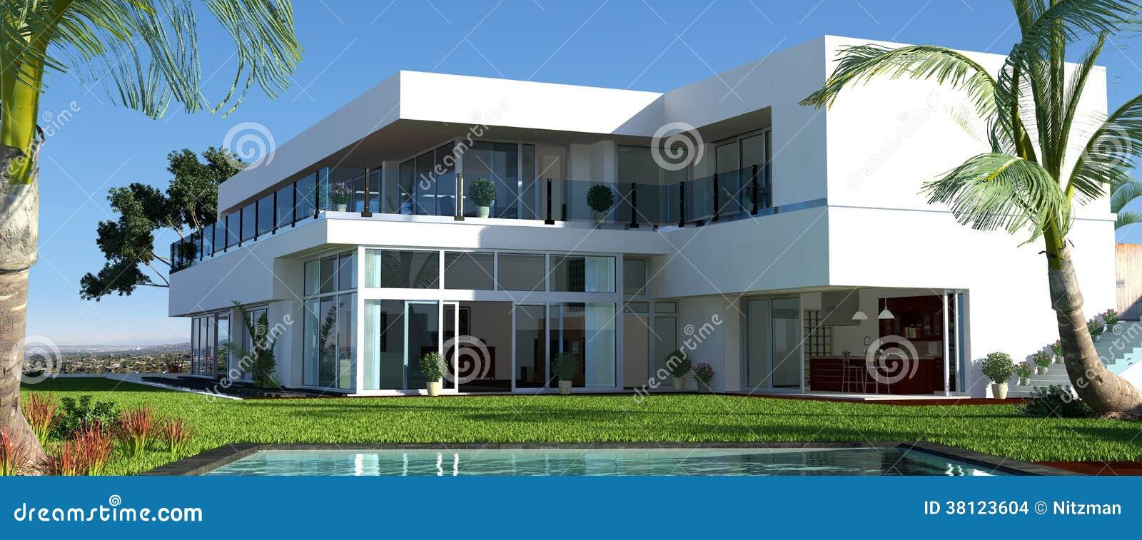 Modernes haus mit garten und pool stockbilder bild 38123604 for Modernes haus mit garten
