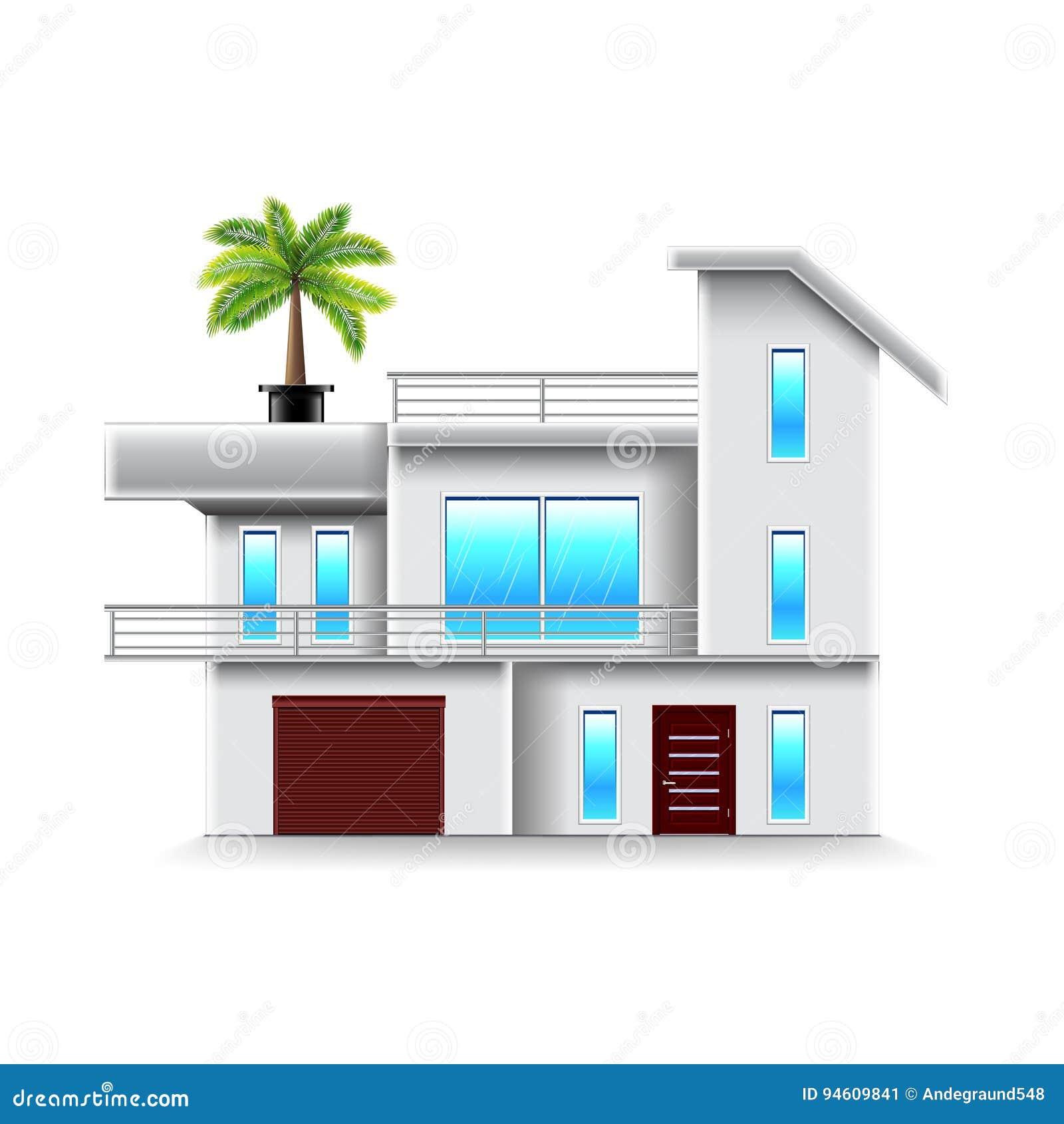 Modernes Haus Mit Große Fenster Lokalisiertem Vektor Vektor ...