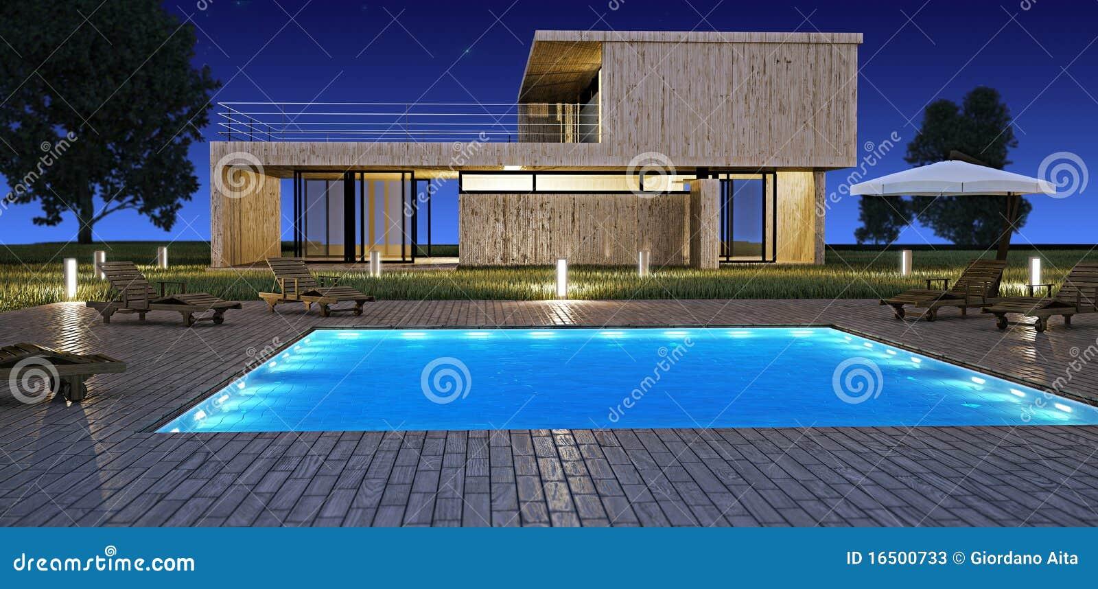 Modernes Haus Mit Swimmingpool Nachts Stockbild - Bild von garten ...