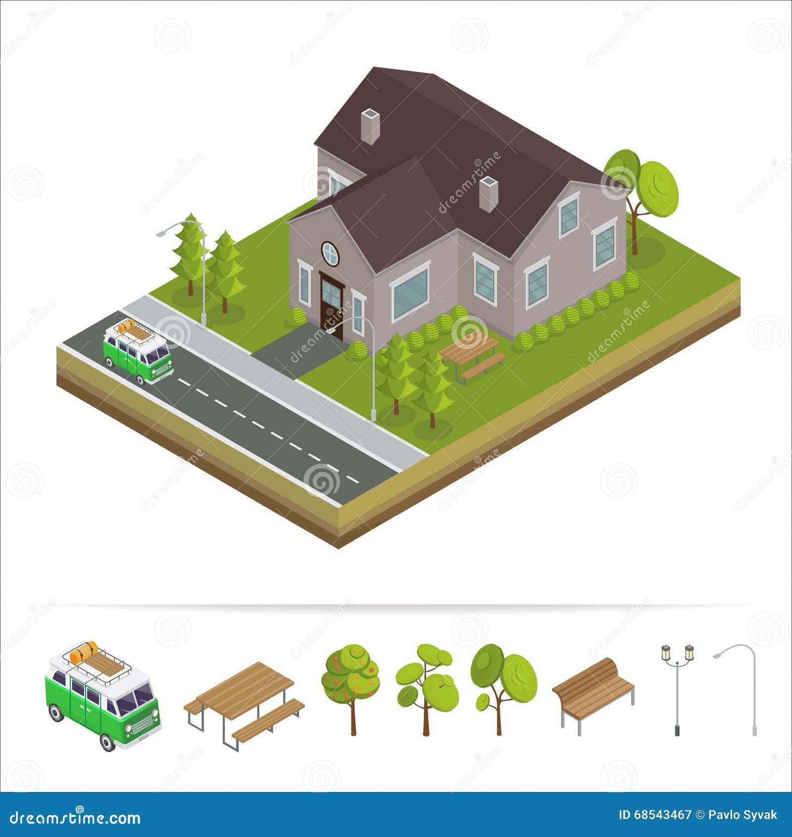 Elegant Modernes Haus Modernes Haus Isometrisches Konzept Grundbesitz? Häuser,  Ebenen Für Verkauf Oder Für Miete