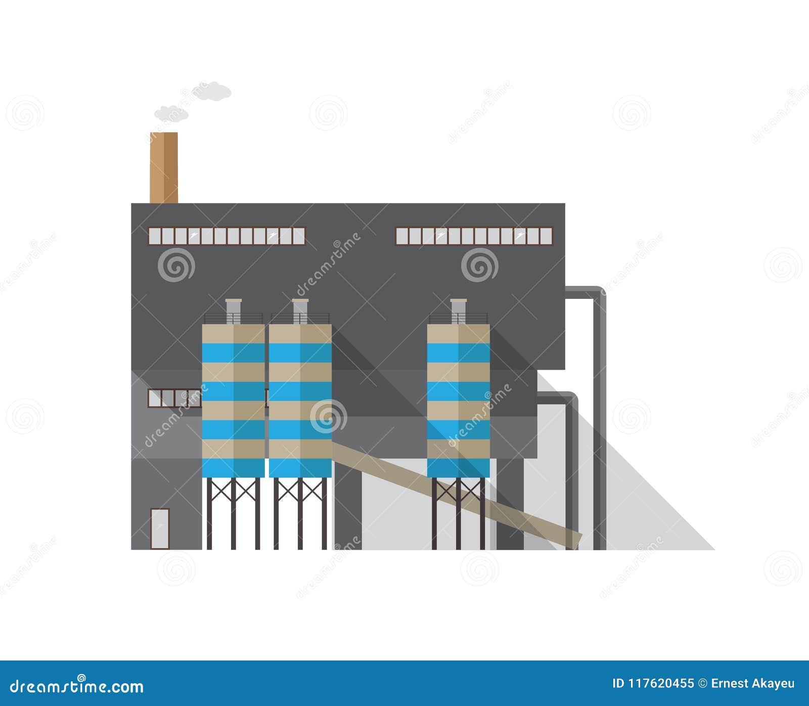 Modernes Industriegebäude mit dem Rohr, das den Dampf lokalisiert auf weißem Hintergrund ausstrahlt Wärmekraftwerk oder Herstellu