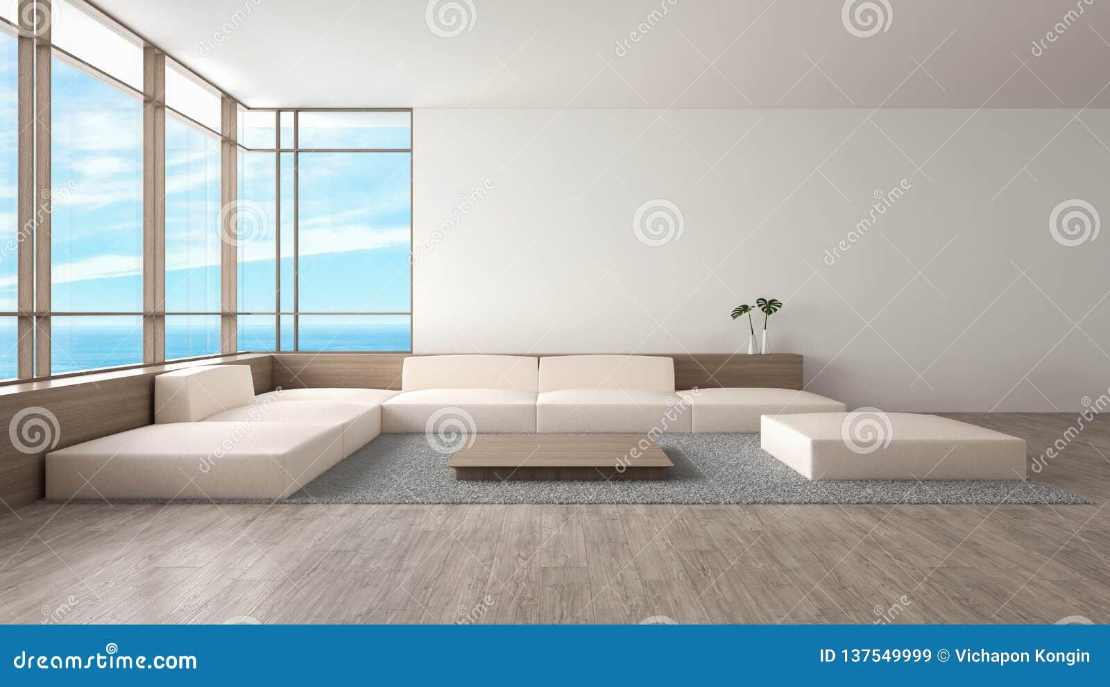 Modernes Innenwohnzimmerholzfußbodensofa stellte Wiedergabe des Seeansichtsommers 3d ein