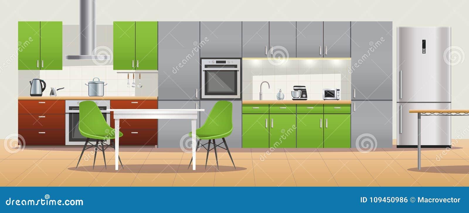 Modernes Küchen-Innenarchitektur-Plakat Vektor Abbildung ...